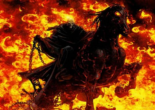 GHOST RIDER - HORSE FLAMES canvas print - self adhesive poster - photo print